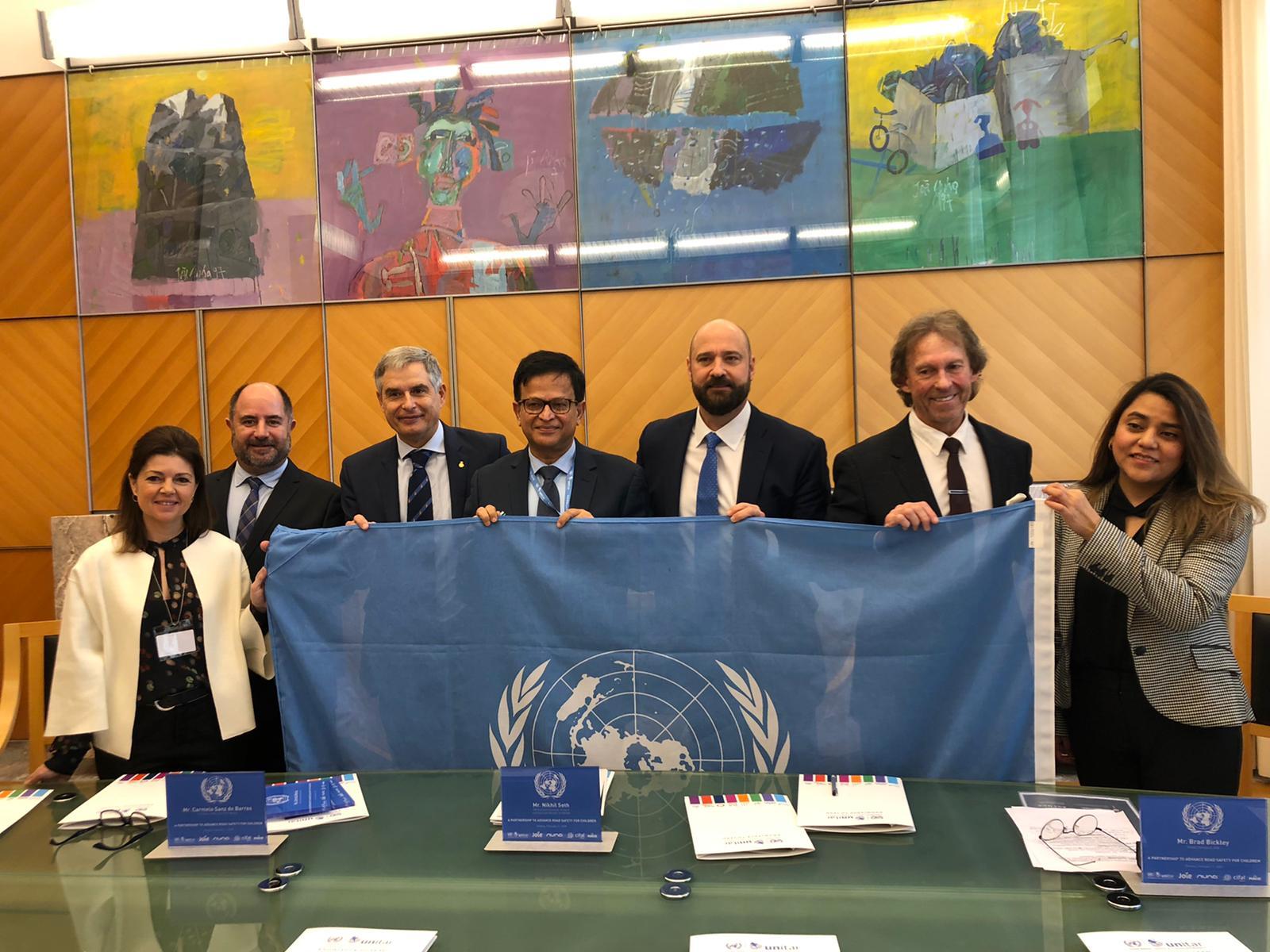 CIFAL Madrid RACE, UNITAR - ONU y Joie firman en el Palacio de las Naciones Unidas un acuerdo global para la mejora de la Seguridad Vial infantil